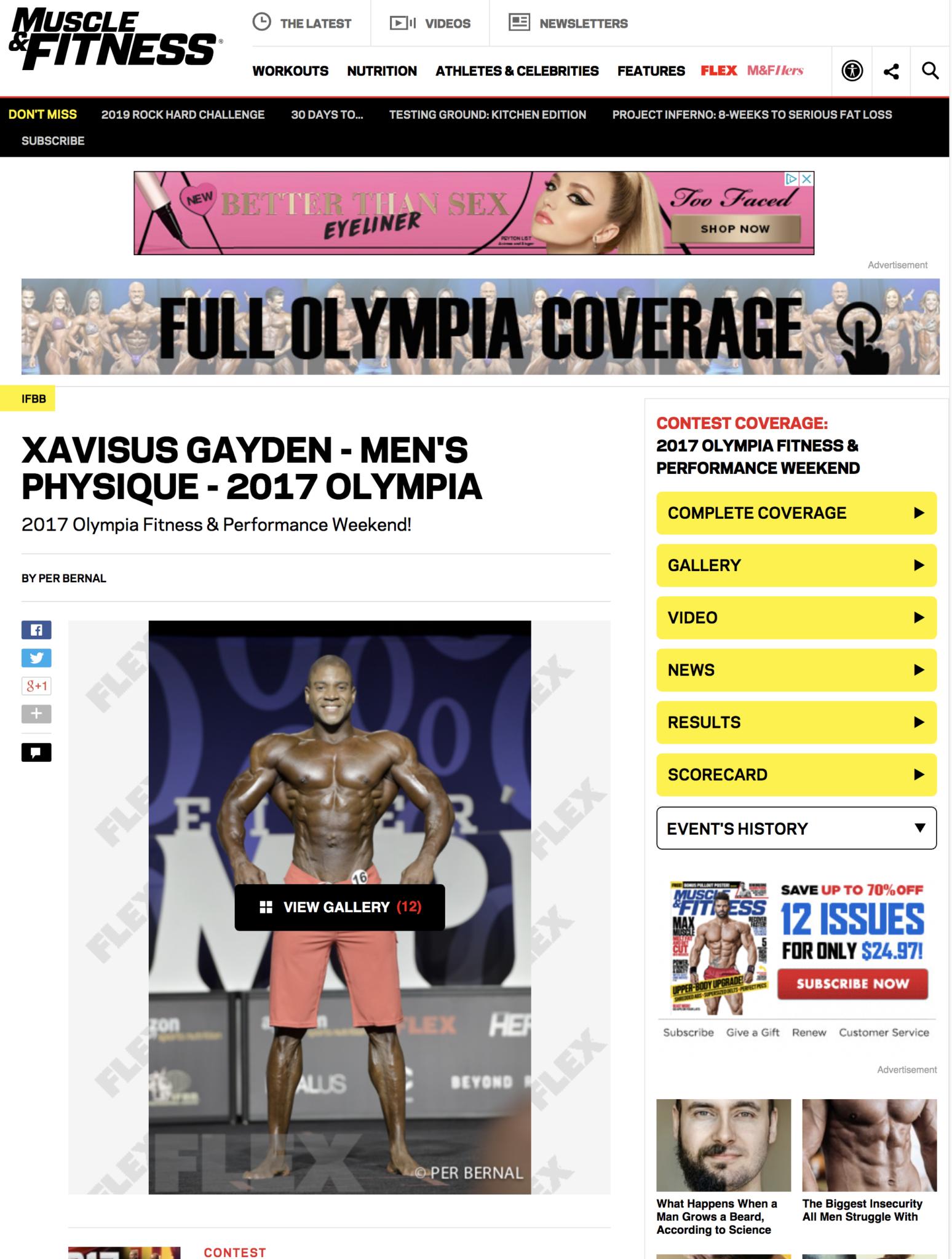 XAVISUS GAYDEN - MEN′S PHYSIQUE - 2017 OLYMPIA 2017 Olympia Fitness & Performance Weekend!
